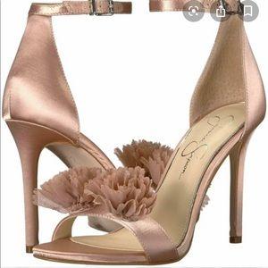 Jessica Simpson JEENA Nude Blush Satin Sandals S 8